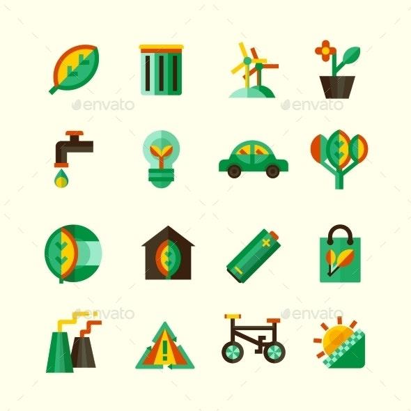 Ecology Icons Set - Objects Icons