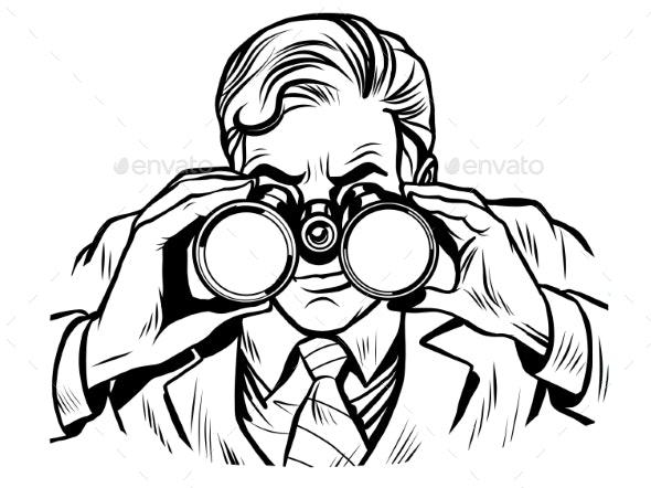Sentinel Watchman with Binoculars Line Art - People Characters