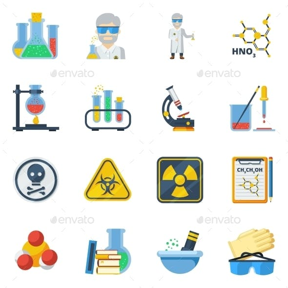Chemistry Flat Color Icons Set