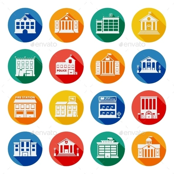 Government Buildings Flat Icons  - Buildings Objects