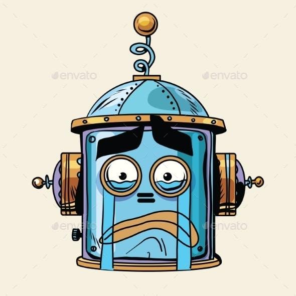 Crying Emoji Robot Head Smiley Emotion
