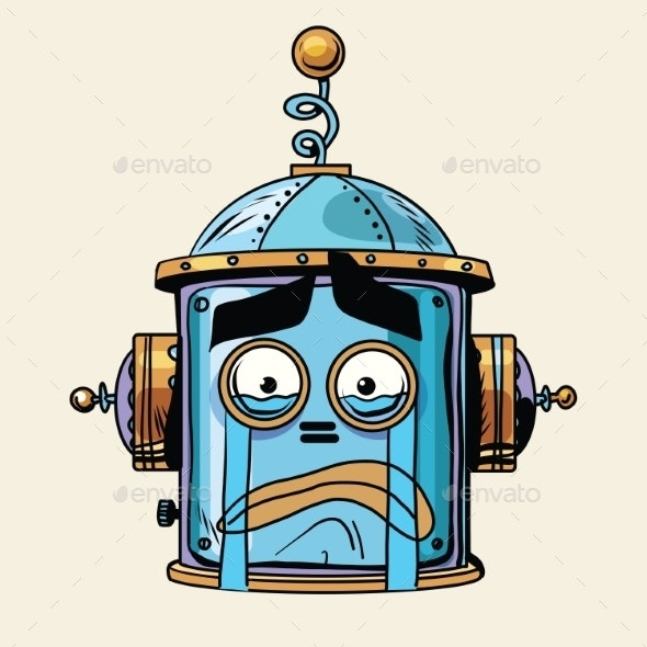 Crying Emoji Robot Head Smiley Emotion - Miscellaneous Characters