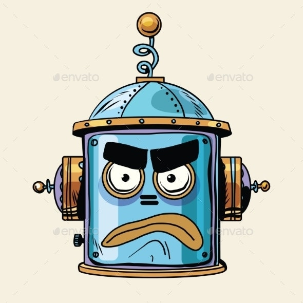 Angry Emoji Robot Head Smiley Emotion - Miscellaneous Characters