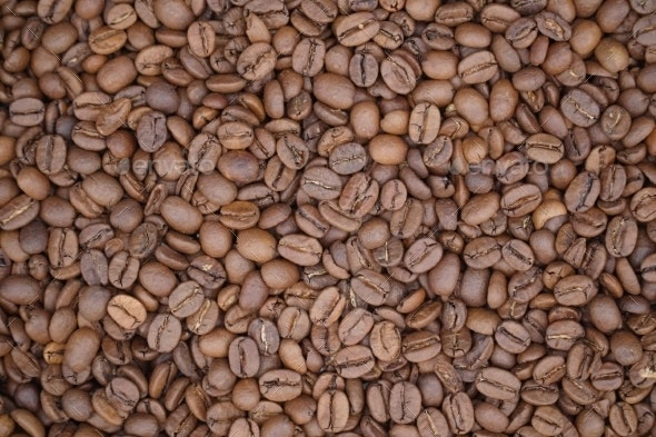 Modern Close Up Coffee Beans Background - Wood Textures