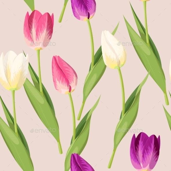 Vintage Tulip Seamless - Flowers & Plants Nature