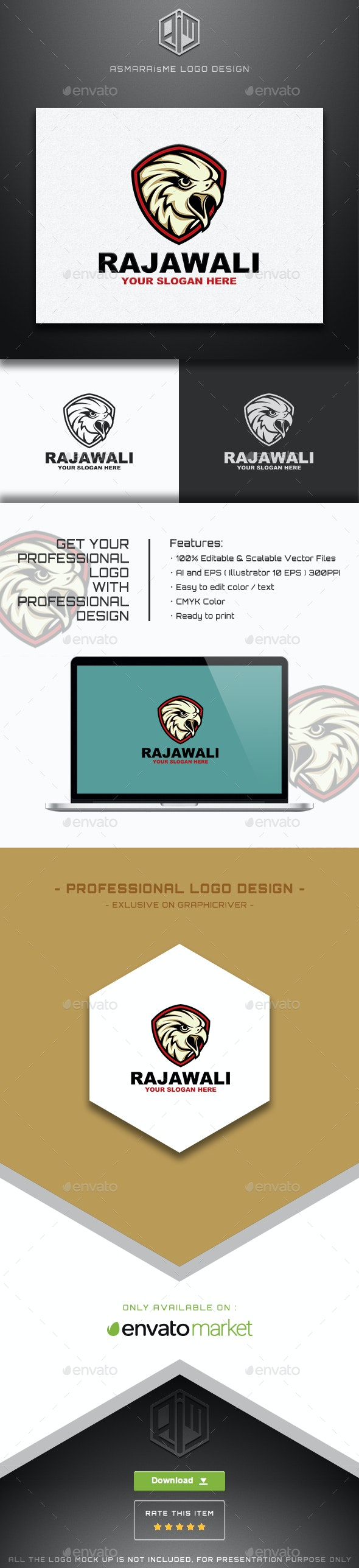 Rajawali - Eagle Shield Logo Template - Animals Logo Templates