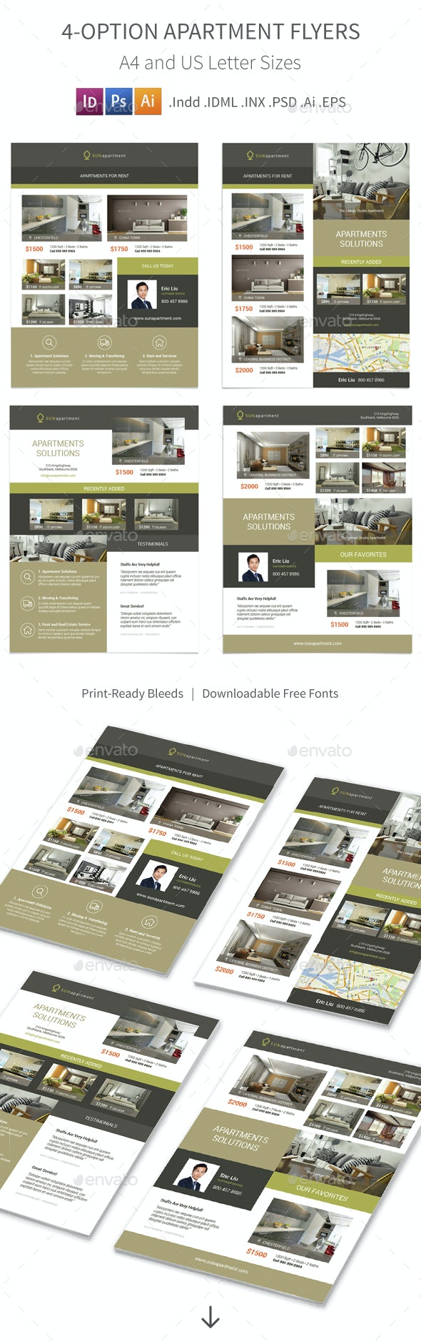 Apartment For Rent Flyers 2 – 4 Options - Corporate Flyers