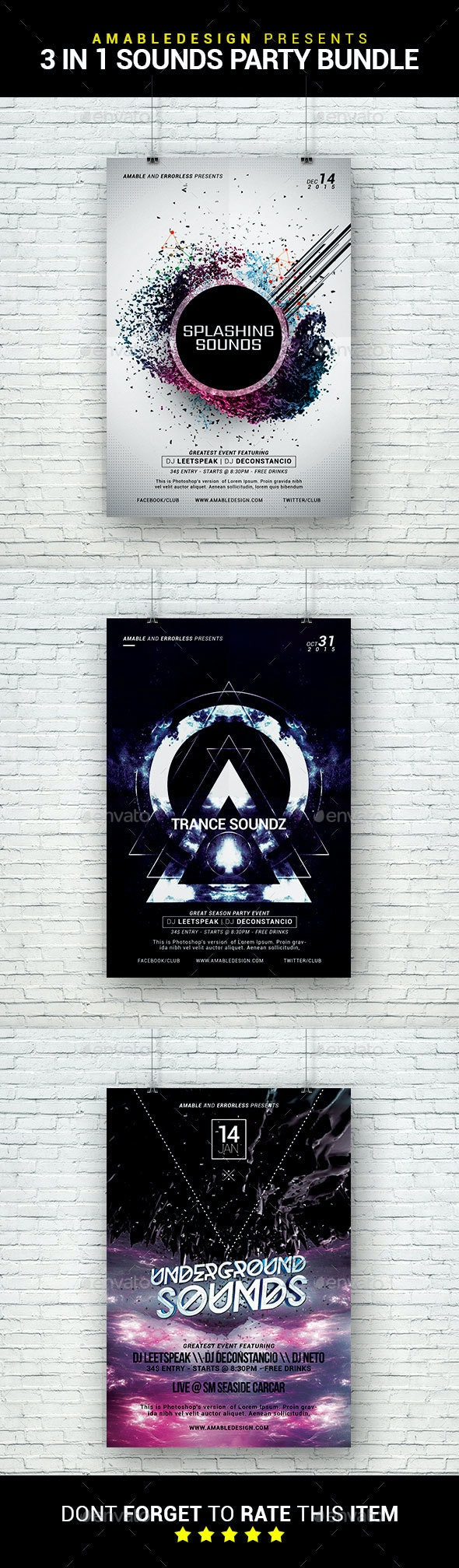 3 in 1 Sounds Flyer/Poster Bundle - Clubs & Parties Events