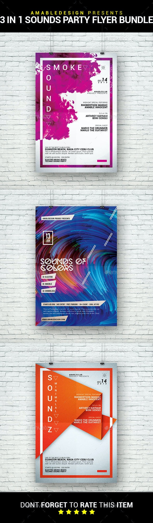 3 in 1 Sounds Party Flyer/Poster Bundle - Clubs & Parties Events