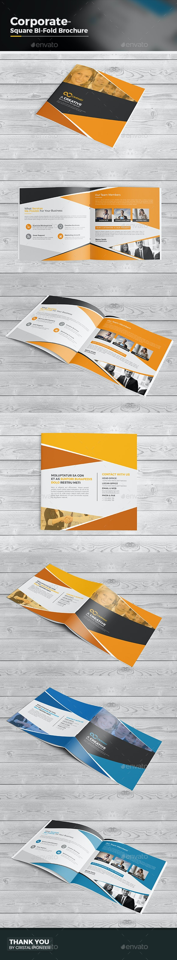 Square Bi Fold Brochure Template - Corporate Brochures