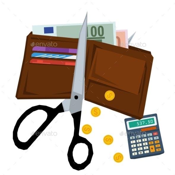Scissors Cutting Purse with Money
