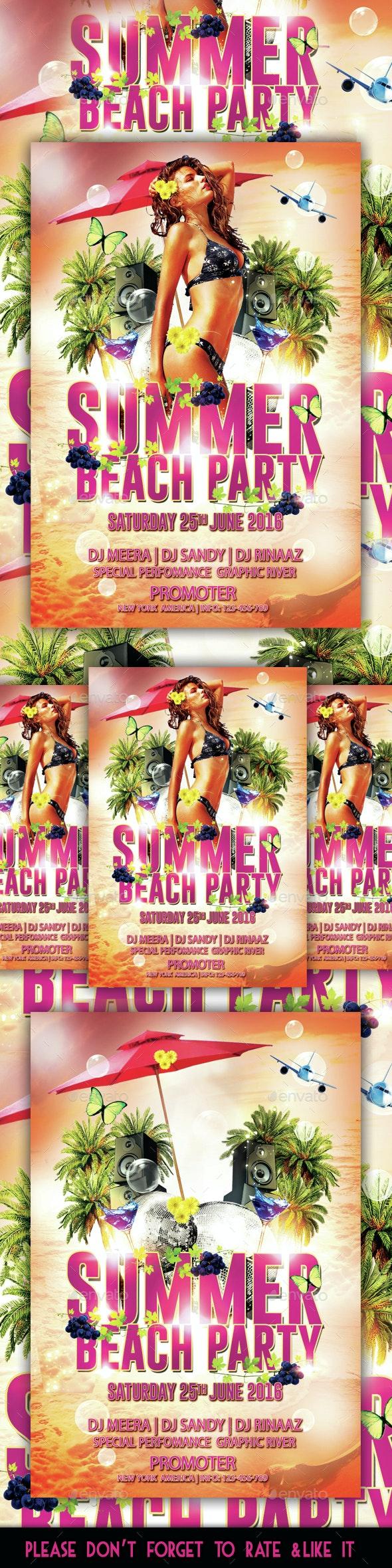 Summer Beach Party Flyer - Flyers Print Templates