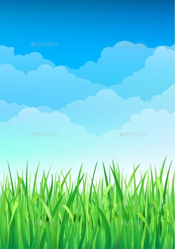 Green Grass and Blue Sky Background - Flowers & Plants Nature