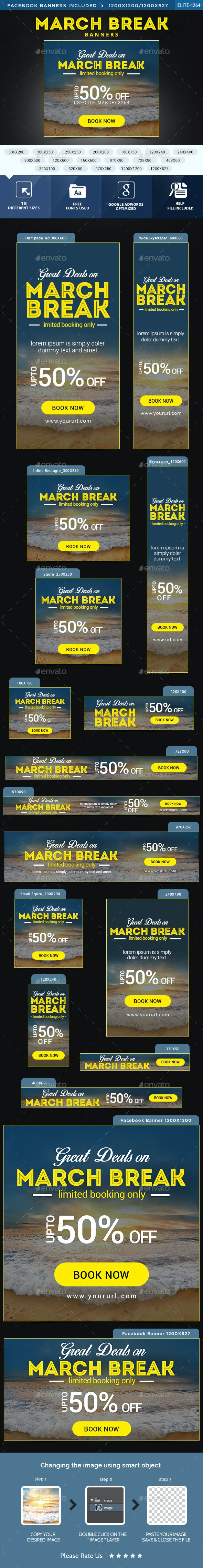 March Break Banners - Banners & Ads Web Elements