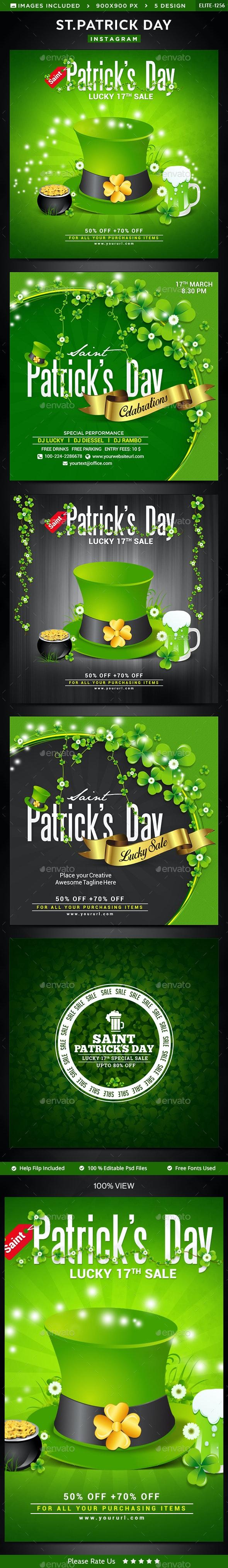 St.Patrick's Day Instagram Template - 5 Designs - Social Media Web Elements