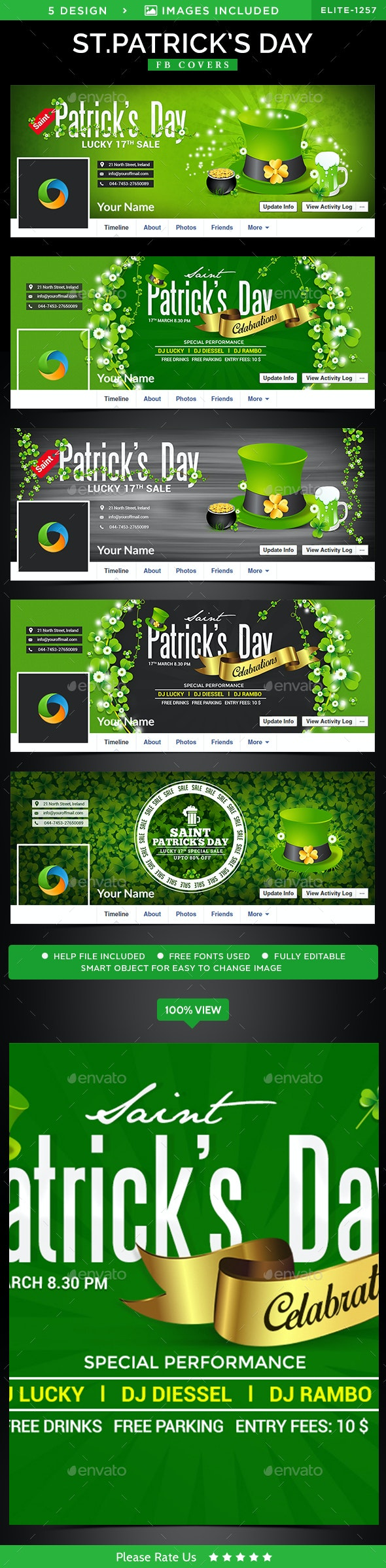 St.Patrick's Day Facebook Covers - 5 Designs - Facebook Timeline Covers Social Media