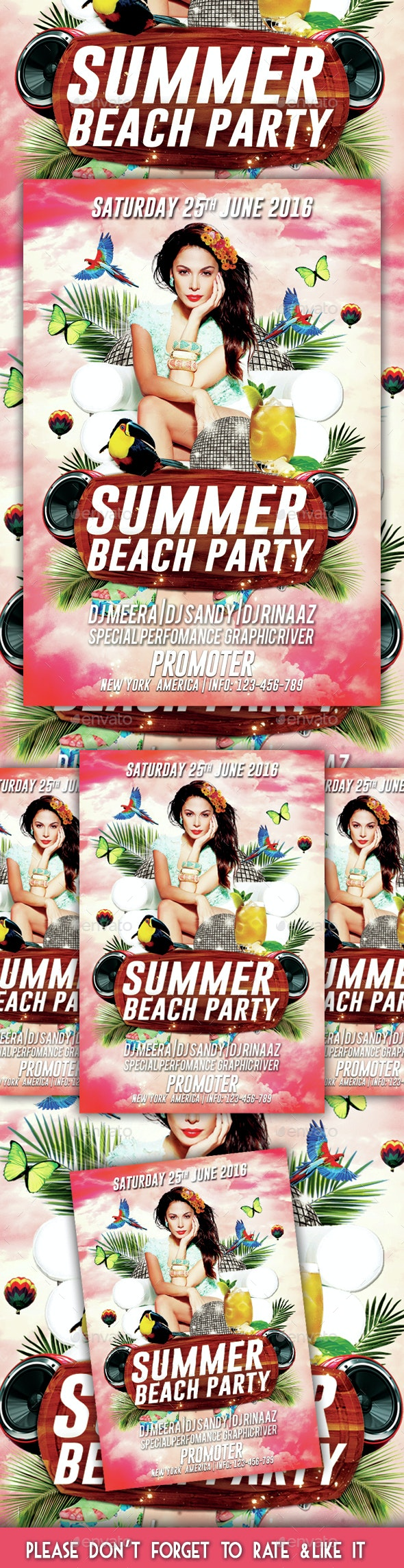 Summer Beach Party Flyer 2 - Flyers Print Templates