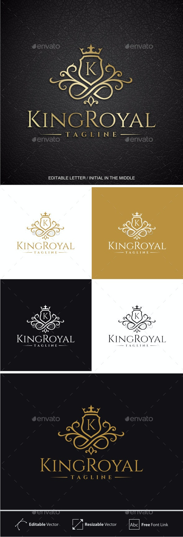 King Royal (Editable Initial / Letter K ) - Crests Logo Templates
