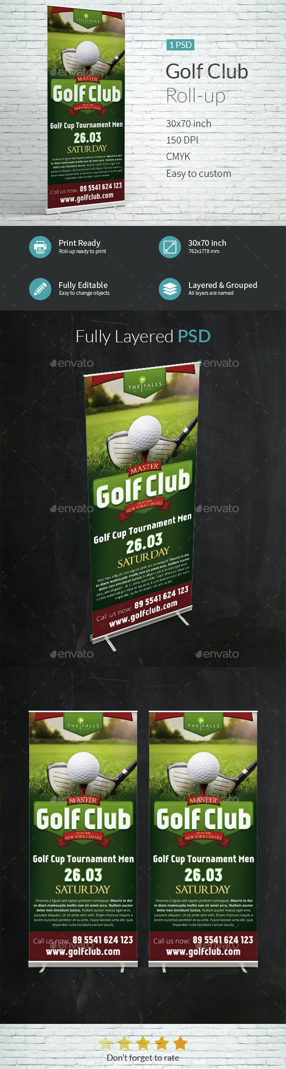 Golf Club Roll-up Template - Signage Print Templates
