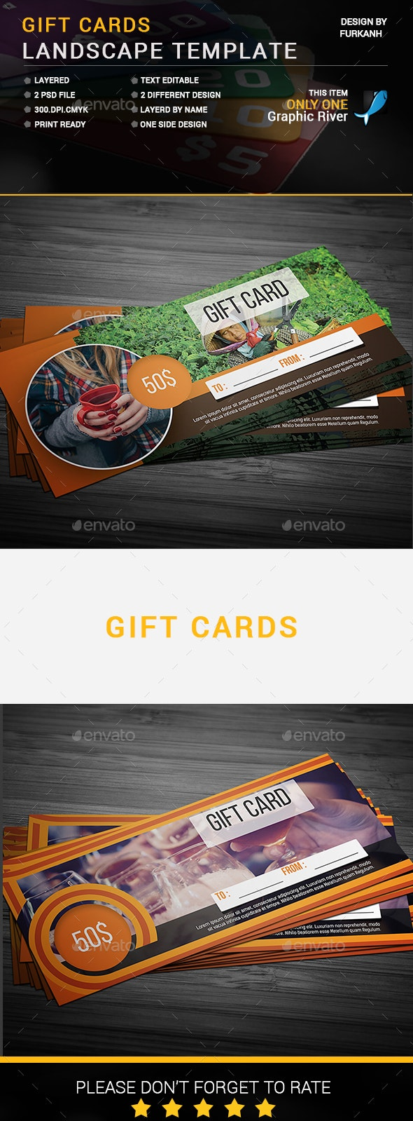 Gift Cards Landscape Template - Cards & Invites Print Templates