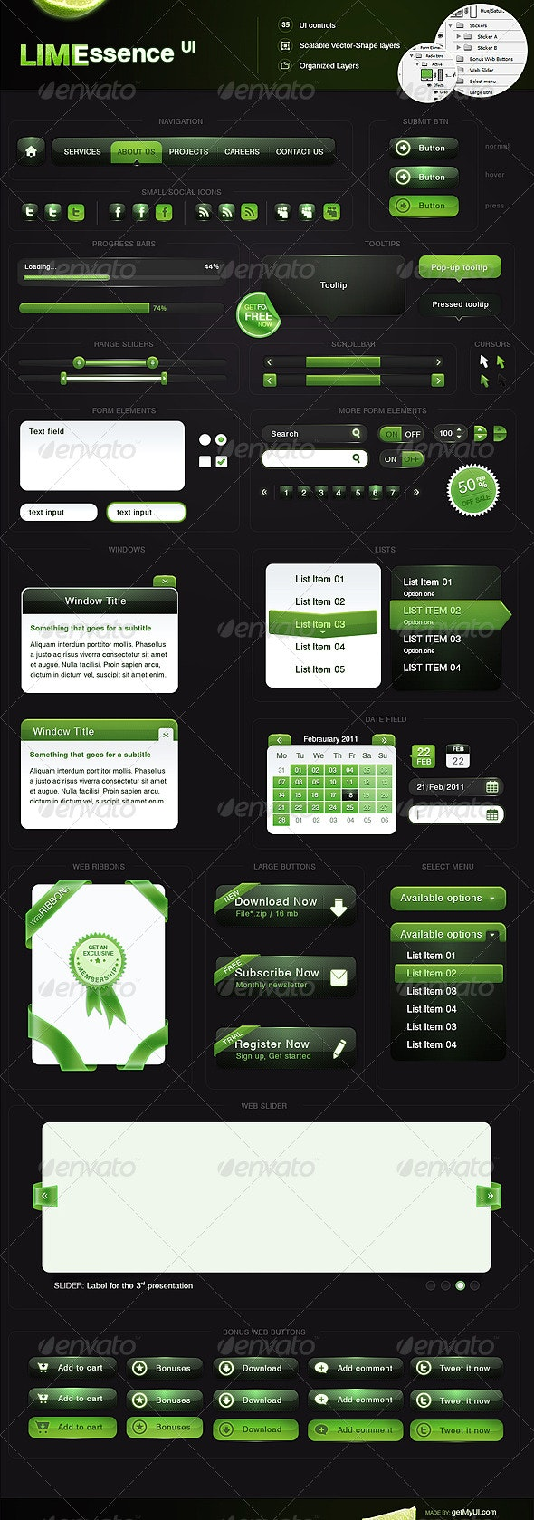 Lime Essence UI - Buttons Web Elements