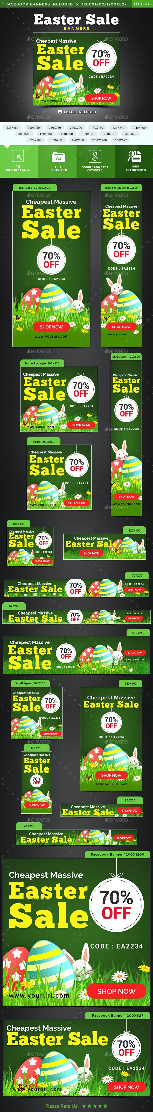 Easter Sale Banners - Banners & Ads Web Elements