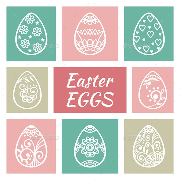 Set of Easter Eggs - Decorative Symbols Decorative