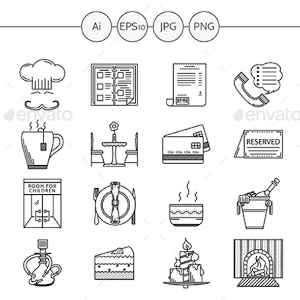 Restaurant and cafe black line vector icons