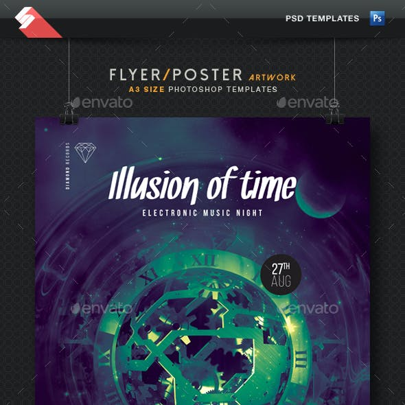 Illusion Of Time - Progressive Party Flyer Template A3