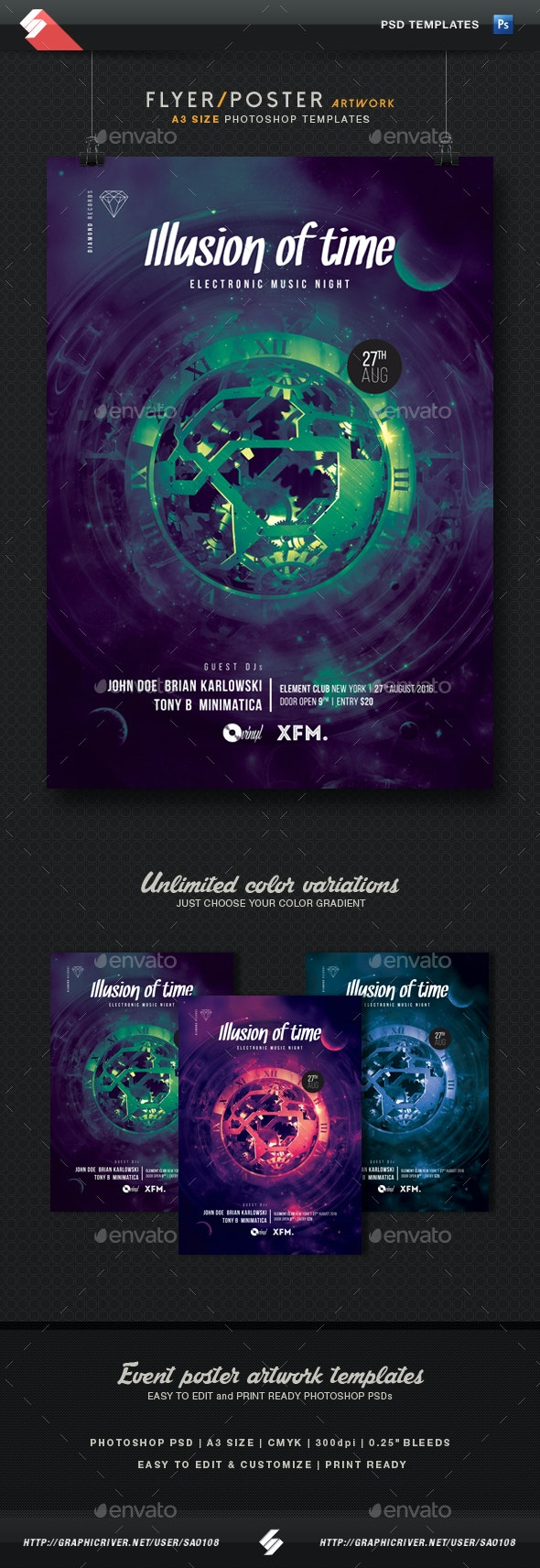 Illusion Of Time - Progressive Party Flyer Template A3 - Clubs & Parties Events