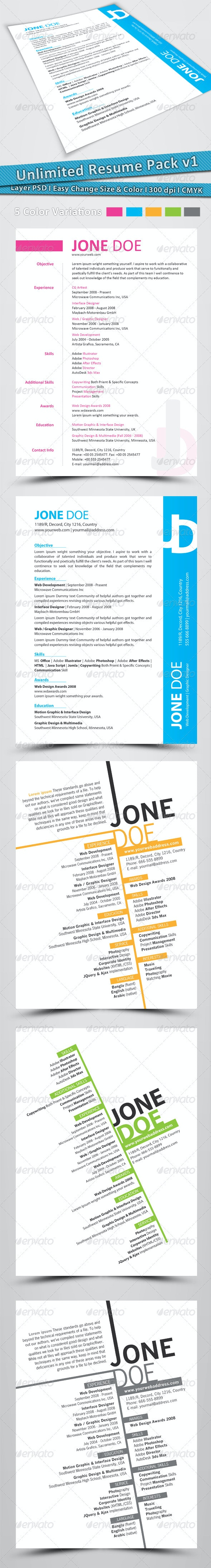 Unlimited Resume Pack v1 - Resumes Stationery