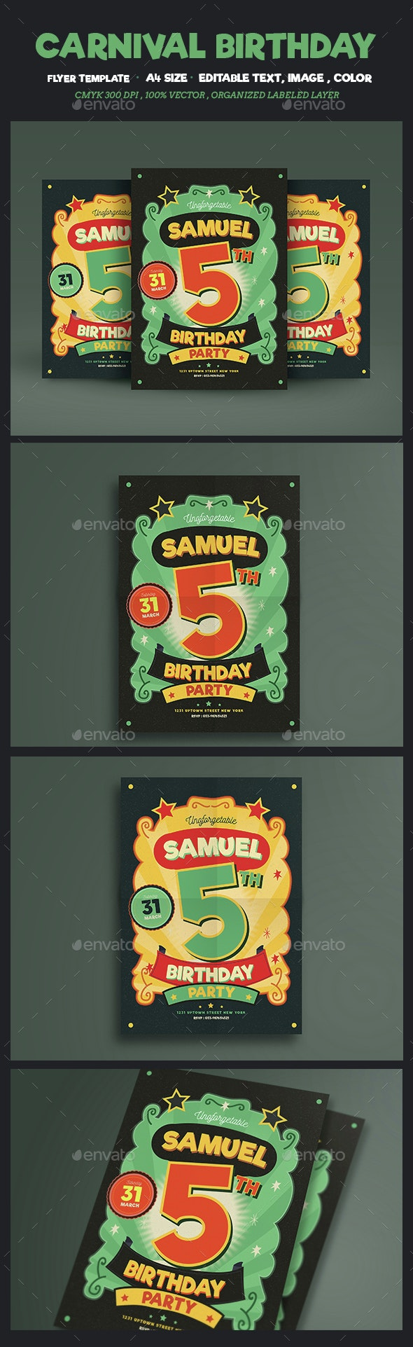 Carnival Birthday Party - Events Flyers