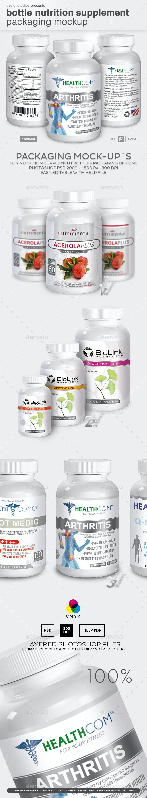 Bottle Nutrition Supplement Packaging Mock-Up - Miscellaneous Packaging
