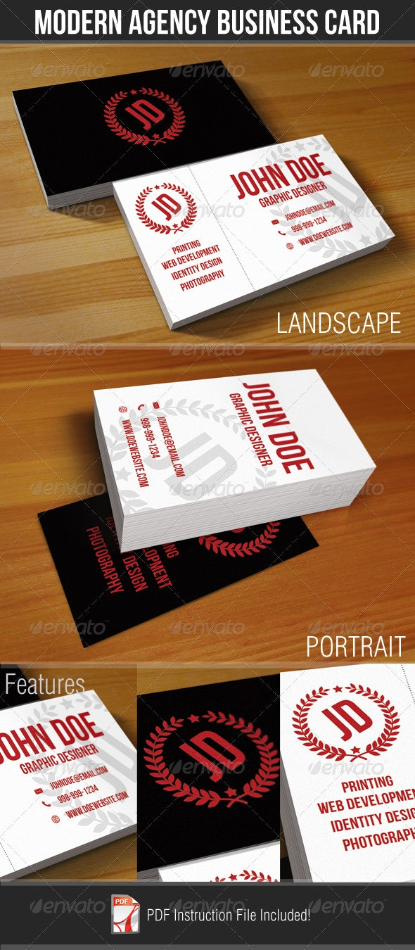 Modern Agency Business Card - Corporate Business Cards