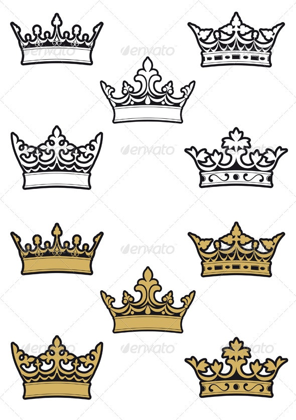 Heraldic crowns and diadems - Decorative Vectors