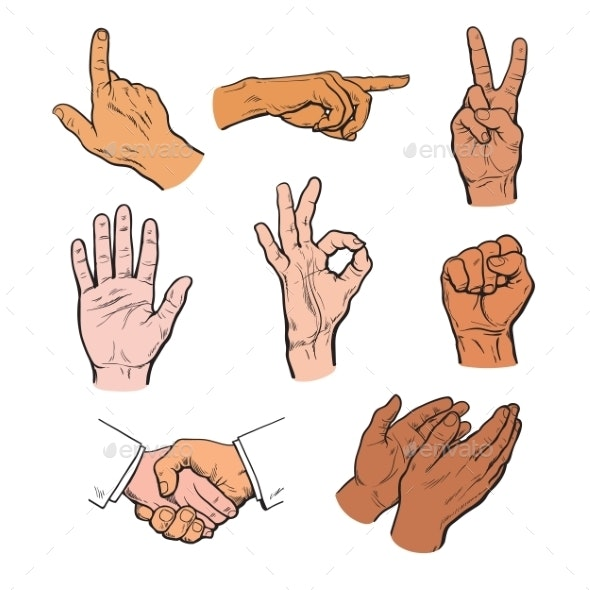 Set of Hands and Fingers - People Characters