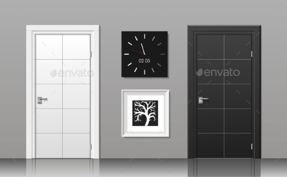 Doors Black and White - Backgrounds Decorative