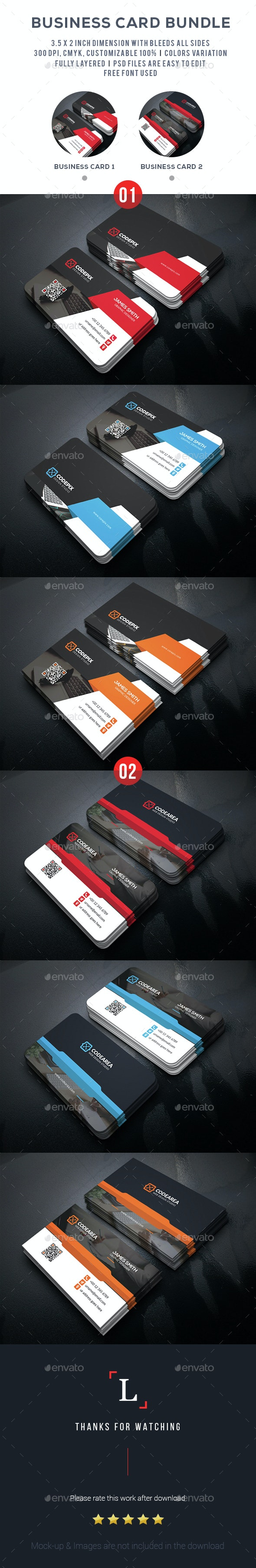 Corporate Business Card Bundle - Business Cards Print Templates