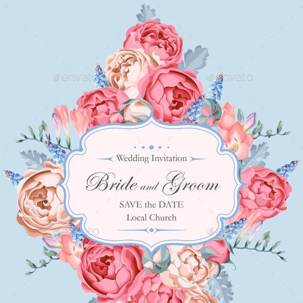 Beautiful Vintage Wedding Invitation Decorated With Peony Roses