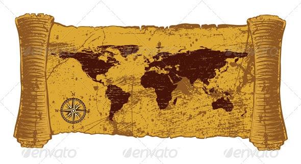 Antique world map - Decorative Symbols Decorative