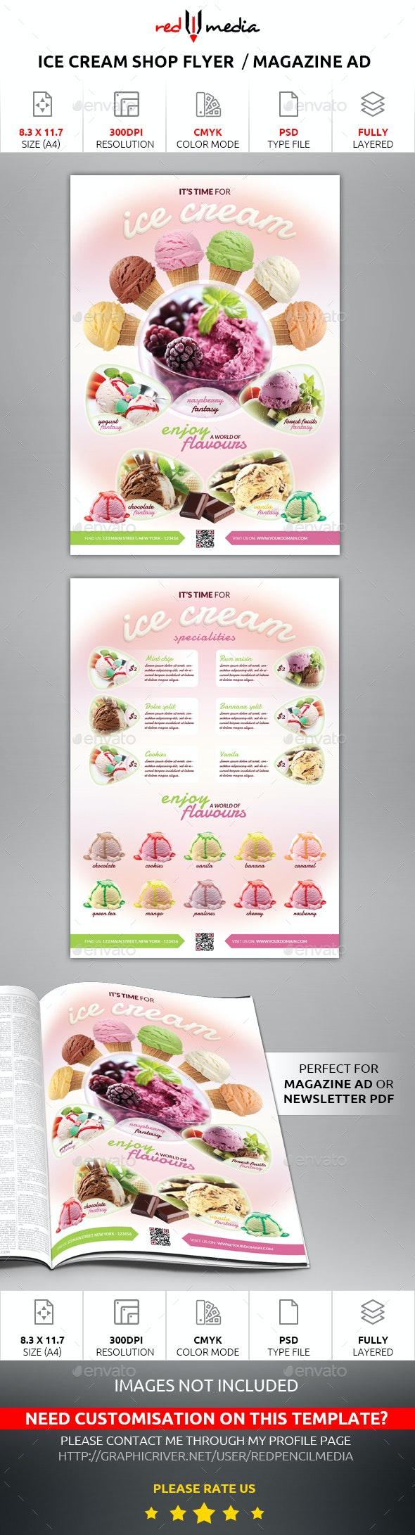Ice Cream Shop Flyer / Magazine AD - Restaurant Flyers