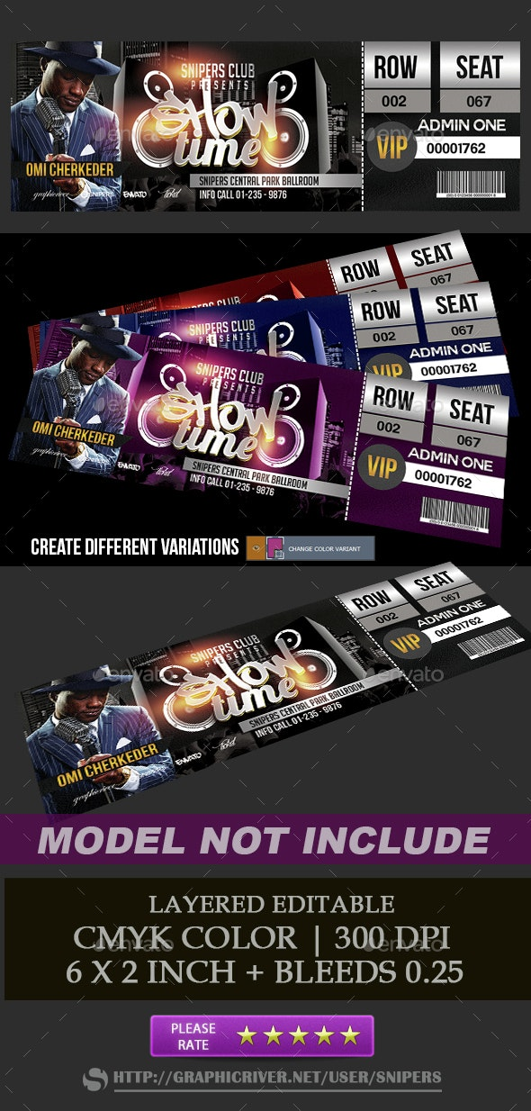 Event Show Time Ticket - Miscellaneous Print Templates