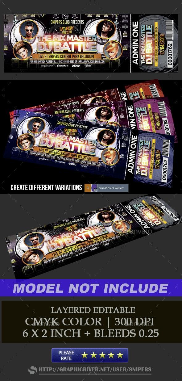 Event DJ Battle Ticket - Miscellaneous Print Templates