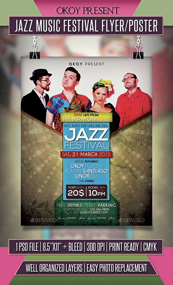 Jazz Music Festival Flyer / Poster - Events Flyers