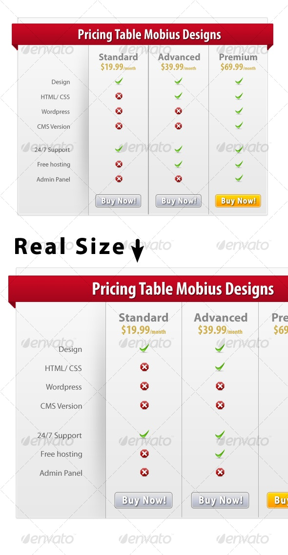 Pricing Table With Ribbon - Web Elements