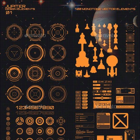 Jupiter HUD and High Tech Design Elements 01