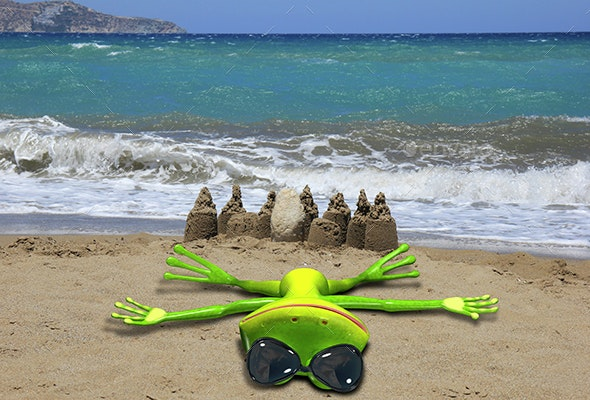 Green frog on the beach - Characters 3D Renders
