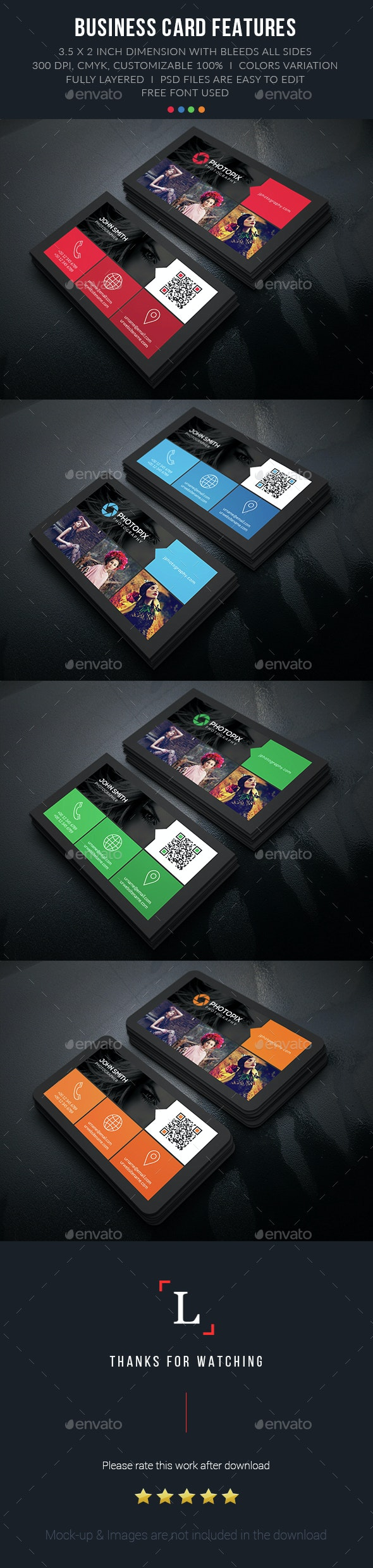Color Photography Business Card - Business Cards Print Templates