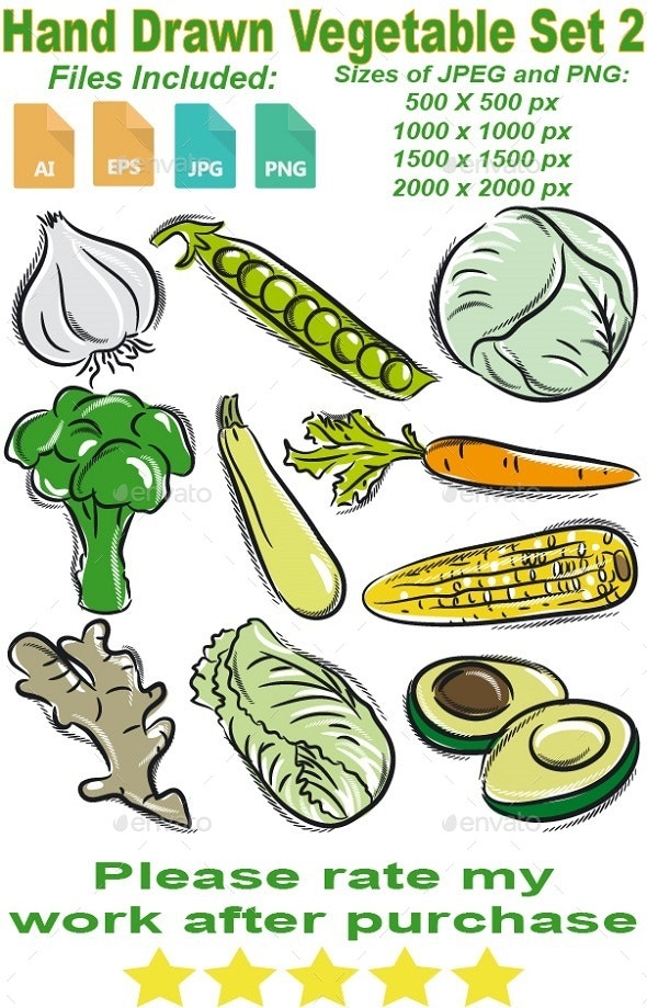 Hand Drawn Vegetable Set 2 - Food Objects