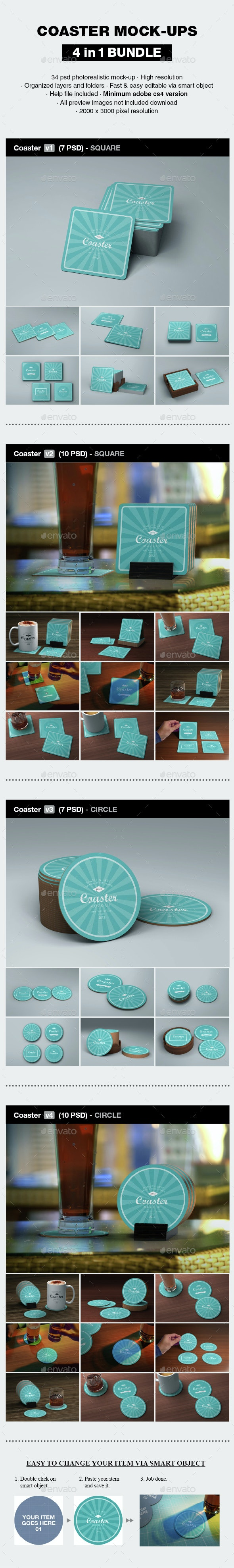 Coaster Mock-up Bundle - Print Product Mock-Ups